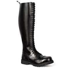 Black leather boots, with steel toe and screw reinforced lug sole. Made from high quality leather with triple stitch construction, Nevermind boots are handcrafted in Portugal. Steel toe Triple stitching Cushioned insole Handcrafted in Portugal Steel Boots, Skinhead Boots, Black Leather Combat Boots, Men's Leather, Biker Wear, Goth Boots, Mens Boots Fashion, Steel Toe, Givenchy