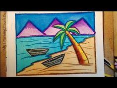 Scenery drawing for kids Scenery Drawing For Kids, Art Drawings For Kids, Easy Drawings, Drawing Ideas, Palm Tree Drawing Easy, Drawing Sunset, Trick Art, Cartoon Cow, Beach Scenery