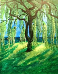 Willow Tree Painting New Simple Paintings Weeping Willow Willow Tree Art, Willow Tree Tattoos, Tree Drawing Simple, Summer Trees, Summer Painting, Weeping Willow, Tree Illustration, Illustrations, Paint And Sip