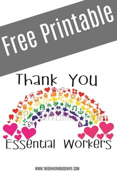 Thank You Essential Workers Rainbow  free printable