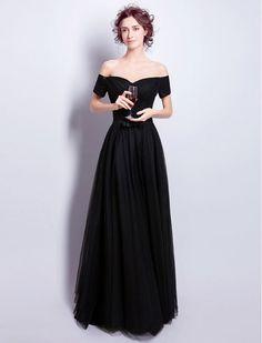 Audrey Hepburn Vintage Inspired Black Off Shoulder Prom Formal Evening Dress