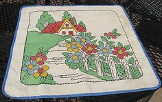 Vintage Vogart Style Pillow Cover Tinted & Embroidered Cottage Home & Garden (11/23/2014)
