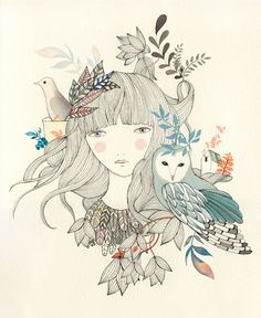 We're really loving the cute, whimsical work of Spanish artist, Lady Desidia . Delicately drawn and painted doe-eyed maidens with birds in their hair, are just some of the gorgeous motifs within her. Art And Illustration, Illustrations Posters, Photo Images, Love Images, Sketch Manga, Street Art, Arte Sketchbook, Graphic, Diy Art