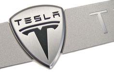 TESLA MOTORS   metal nameplate detail