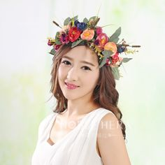 4.99$  Watch now - http://ali33g.shopchina.info/go.php?t=32650896180 - 2016 new women handmade Rose Flower Wreath Crown Garland Halo for Wedding Festivals Girl Rose Wreath Headpiece Boho Floral crown 4.99$ #magazine
