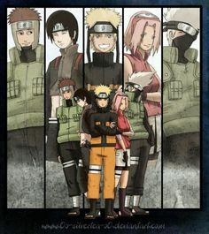 Naruto, Sakura, Yamato, Sai, Kakashi