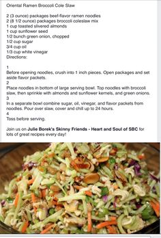 Oriental broccoli salad - with some modifications!