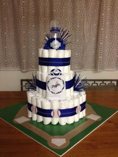My creation! #Dodgers diaper cake for baseball-themed baby shower. I'm officially a diaper cake badass.