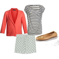 I have this jacket and these flats! mixing stripes and polka-dots