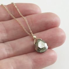 Pyrite Necklace Briolette Solitaire Gold Chain by DJStrang on Etsy