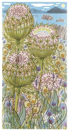Angie Lewin Wild Shore, 2018 Screen print H 57 x 29 cm image size Angie Lewin, Yellena James, Watercolour Drawings, Watercolors, Mc Escher, Silk Screen Printing, Wood Engraving, Illustrations, Linocut Prints