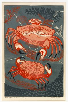 Title: An Old Crab and a Young Artist: Edward Bawden Medium: Linocut Source: Fry Art Gallery Illustrations, Illustration Art, Linocut Prints, Art Prints, Haus Am See, Wood Engraving, Woodblock Print, Online Art Gallery, Making Ideas