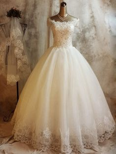 Ball Gown Off-the-shoulder Tulle Floor-length with Beading Wedding Dresses