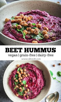 An easy beet hummus that's full of flavor and easy on the eye and vegan. All you need are beets, tahini, chickpeas, lemon juice, olive oil and spices to create this delicious dip. Beet Recipes, Vegetarian Recipes, Healthy Recipes, Vegetarian Appetizers, Smoothie Recipes, Beet Hummus, Vegan Hummus, Appetizer Recipes, Snack Recipes