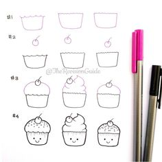 Cupcakes draw step by step