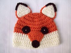Crochet Fox Baby Hat // Fox Newborn Baby Hat // Fox Beanie // Newborn Photo Prop from CrochetByJulia on Etsy. Saved to Crochet By Julia. #babyhat.