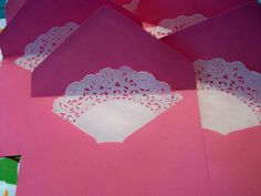 Do you remember the doily banner that I made? Well I did have some doilies left over from that project. So I wanted to show you what I did with the extra's. Again, cut your doily in half. T…