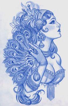 13 Latest Gypsy Tattoo Designs, Samples And Ideas Tatoo Art, Et Tattoo, Tattoo Drawings, Snake Tattoo, Tattoo Outline, Kunst Tattoos, Body Art Tattoos, Tatoos, Arabic Tattoos