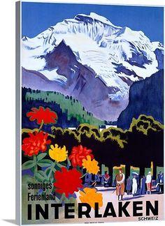 Swiss Alps, Interlaken,Vintage Poster