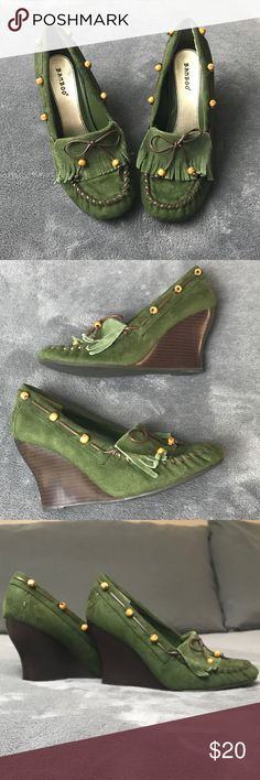 """Green Wedge Moccasins Green Wedge Moccasins with accent beading. Size 8.5. Wedge Height 3.5"""". BAMBOO Shoes Wedges"""