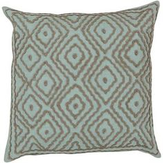 Atlas Poly Fill Square Pillow in Mint and Taupe