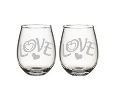 Valentine's day Etched wine glasses love by Rockglassengravers, $25.99