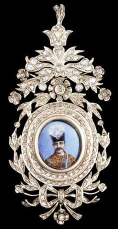 A diamond-set rose-gold Insignia of the Qajar Order of the Imperial Effigy depicting Nasr al-Din Shah Qajar (r. 1848-96) Persia, circa 1870-75
