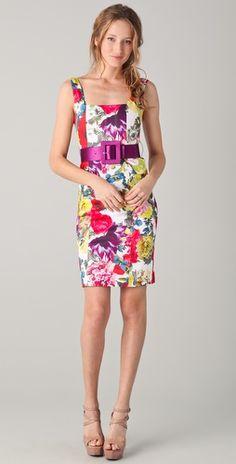 alice + olivia natalee print sheath dress w/ belt $396