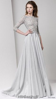 tony ward fall 2016 rtw 3 quarter sleeves bateau neck a line evening dress grey gray embellished bodice / http://www.himisspuff.com/colorful-non-white-wedding-dresses/3/