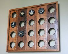 Made to order Reclaimed Wood Hockey Puck Display