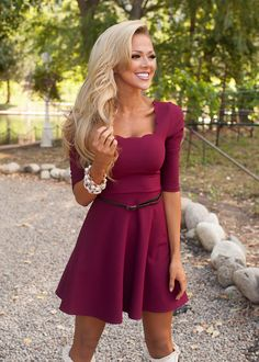 Online boutique. Best outfits. Scalloped Belted Dress Burgundy - Modern Vintage Boutique