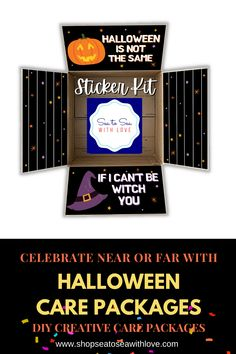 Halloween care packages are a great way to stay connected with your loved one during a military deployment. Visit here to check out hundreds of care package ideas and themes in Sea to Sea with Love's shop! If you are looking for an easy way to decorate your care package, then this is the shop for you! Get inspired to create your own DIY care package with sticker kits. You will love how easy they are to use. These are also perfect for college and long distance packages too! Long Distance Packages, I Care Packages, Halloween Care Packages, Birthday Care Packages, Deployment Care Packages, Military Deployment, Halloween Items, Etsy Seller, College