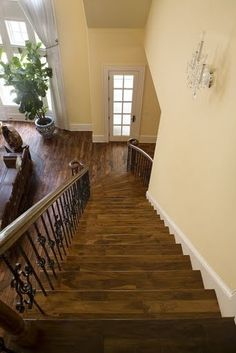 "Reclamation plank 3/4"" distressed hardwood flooring by simpleFLOORS.  Old style for new stairs!"