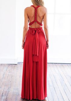 Red Magic Strappy Long Dress