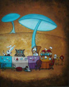 Alice In Wonderland Art - Mad Hatters Tea Party II Painting Charlene Murray Zatloukal