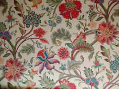 Floral linen curtain fabric<br />We recommend a sample of this fabric if colour is important to you as colours on different screens may vary.