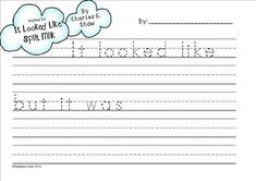 """Use this free writing page to compliment your reading of """"It Looked Like Spilt Milk"""" by Charles G. Shaw.I have my students create clouds using a 1:1 shaving cream and glue mixture and then write about their cloud using a format similar to the book.  This 2-page writing paper provides scaffolding to help them follow the sentence format.PLEASE RATE THIS PRODUCT."""