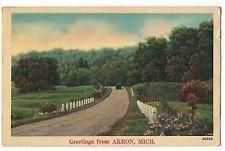 ROAD SCENE Vintage CAR AKRON MICHIGAN MI  Linen POSTCARD 1943 FREE SHIP