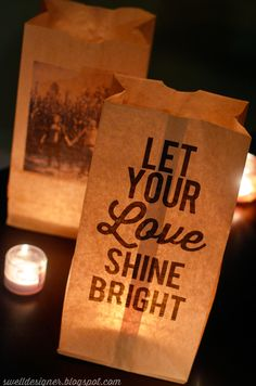 Photo & Quote Paper Bag Wedding Luminaries ~ you can make your own custom luminaries in minutes using your photos and favorite words!