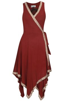 Red maori embroidery wrap dress available only at Pernia's Pop Up Shop.