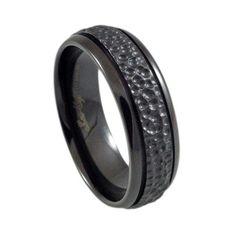 Black Titanium cool men's rings Hammer finish