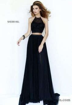 2015 Long Black Two Piece Sherri Hill 32109 Prom Dresses