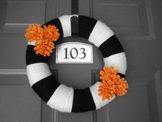 Halloween Wreath Yarn Wrapped - Black, White, & Orange. $ 35.00, via Etsy.
