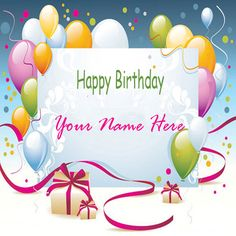 Write Name On Birthday Colorful Balloons Greeting CardCreate