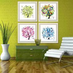 Алмазный вышивания новый гостиная живописи ряд новых печатных сезонов PACHIRA сезонов четверка живописи - Taobao
