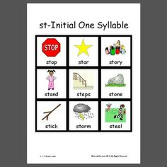 st-Initial One Syllable - Pinned by @PediaStaff – Please Visit  ht.ly/63sNt for all our pediatric therapy pins