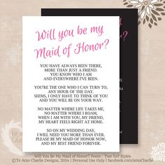 Will You Be My Maid of Honor Poem Instant by TeAmoCharlie on Etsy