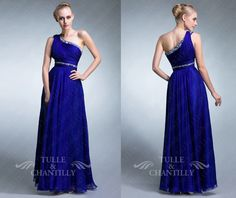 Navy blue beaded one shoulder long chiffon prom dress by TulleandChantilly, $144.00