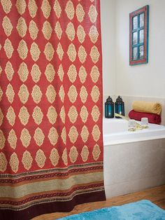 Moroccan Indian shower curtain, Red orange shower curtain, Cotton bathroom shower curtain