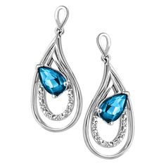 Designer white gold with blue stone earrings for women available on 20% disocunt at Luxurystylers.com, shoponline now.